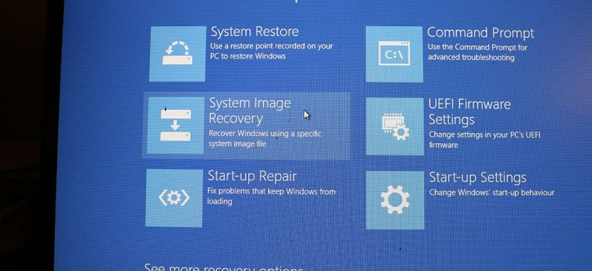 Windows 10 restore - system image
