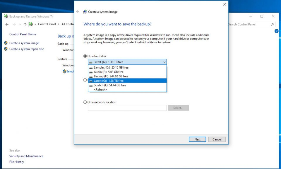 Windows backup - choose the destination drive