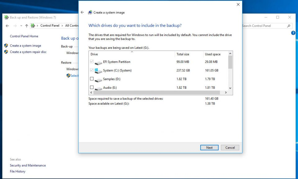 Windows backup - specify which partitions to backup - the defaults are good
